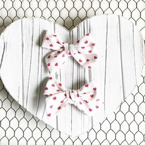 Other - Small Hearts Pigtail Hair Bow Set